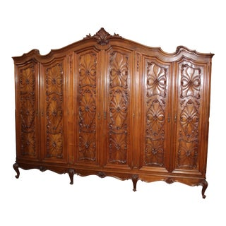 19th Century French Louis XV Style Walnut Armoire For Sale