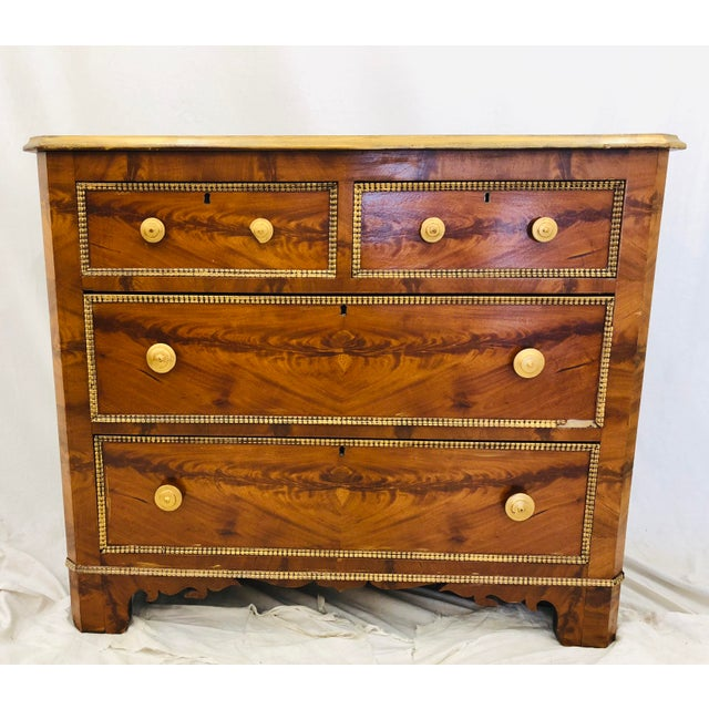 Stunning Antique Victorian Burl Front Chest. Two over Two Drawers. Hand Gilded Trim and Hardware. Beautiful Patina and...