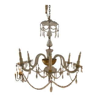 1910's Crystal 6 Arms Chandelier With Twist Design For Sale