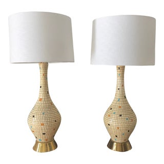 Unique Mid-Century Modern Mosaic Tiled Table Lamps - a Pair For Sale