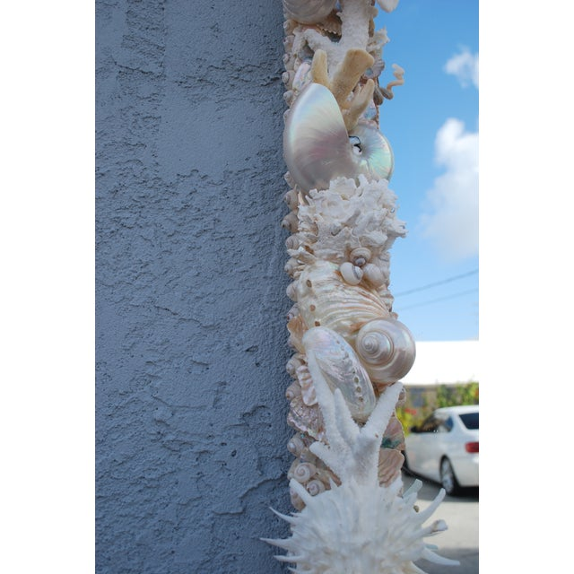 Asian Custom White Seashell and Coral Mirror For Sale - Image 3 of 9