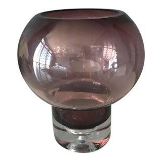 Mid Century Modern Scandinavian Amethyst Glass Candleholder
