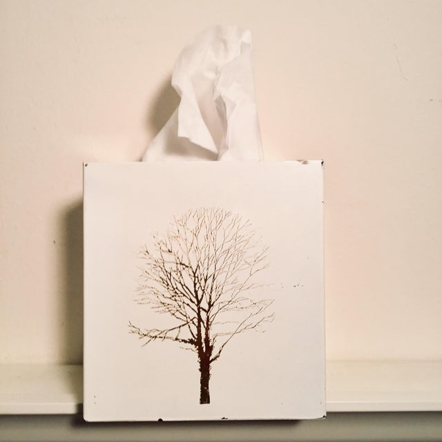 Super Chic white Lacquered plastic Tissue Box with Gold Metallic Abstract Tree design Each side features a different Tree....