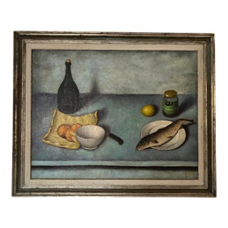 1950s Vintage Piucci Still Life Tablescape Oil Painting For Sale