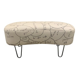 Custom Ottoman Black and White Words For Sale
