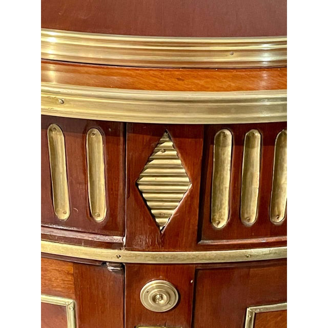 Pair of Mahogany Demilune Servers, Commodes Nightstands, Russian Neoclassical For Sale - Image 9 of 13