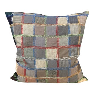 Antique Men's Suiting Patchwork Pillow With Hand Embroidery For Sale