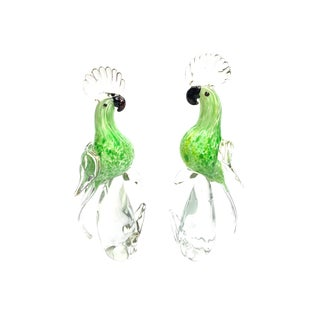 1960s Vintage Hand Blown Murano Art Glass Green Cockatoo Birds - a Pair For Sale