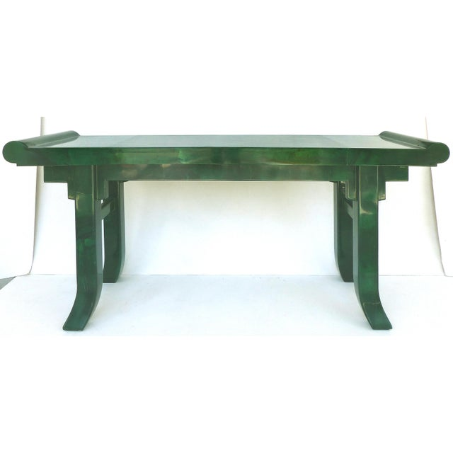 Over-Scale Green Goatskin Stylized Altar Table Style Console Table For Sale - Image 9 of 9