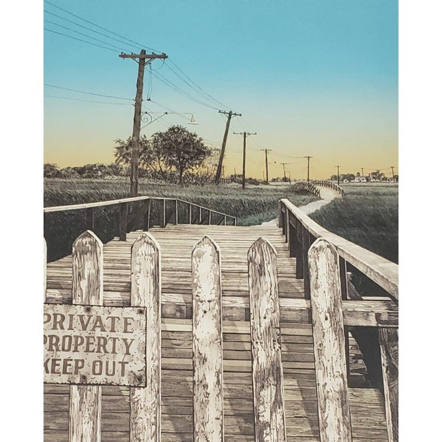 """Martin Levine (American, 20th C.) """"Private Property"""" Limited Edition Color Lithograph C.1982 For Sale - Image 4 of 11"""