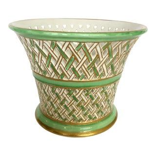 Italian Reticulated Ceramic Flower Pot For Sale