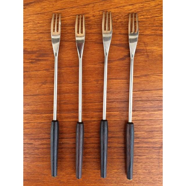 Mid-Century Steel & Walnut Fondue Forks - Set of 4 - Image 3 of 5