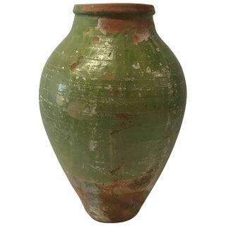19th Century Turkish Terra Cotta Oil Jar With Green Glaze For Sale