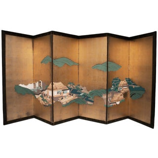 Edo Era Japanese Gold Leaf Screen For Sale