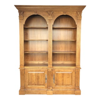 Traditional Ethan Allen Legacy Double Arch Bookcase For Sale