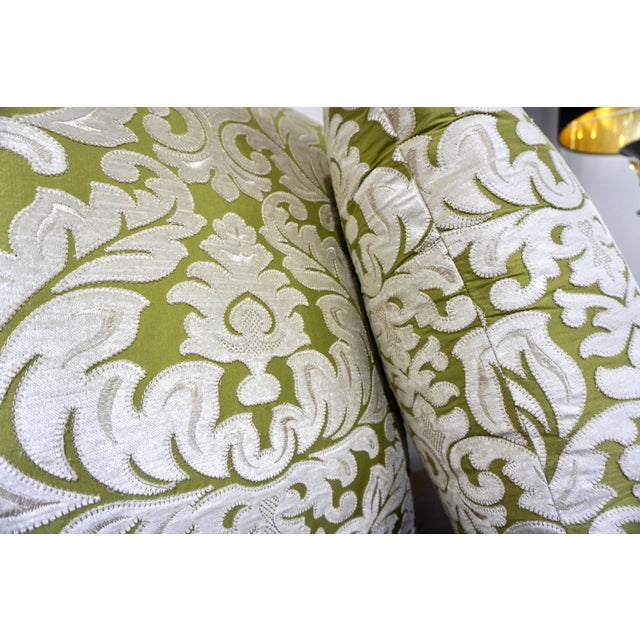 Contemporary French Green and Ivory White Damask Velvet Throw Pillows - a Pair For Sale - Image 9 of 11
