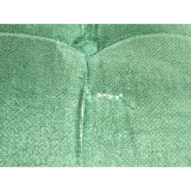 Caning Vintage French Country Tufted Green Velvet Settee Loveseat W Cane #2 For Sale - Image 7 of 13