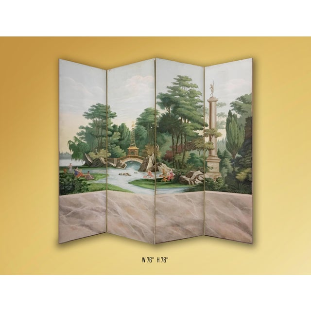French Hand Painted Vintage French Scenic 4 Panel Screen For Sale - Image 3 of 4