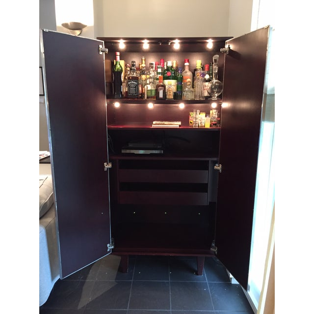 Custom Stainless & Mahogany Dialogica TV Cabinet For Sale - Image 5 of 11