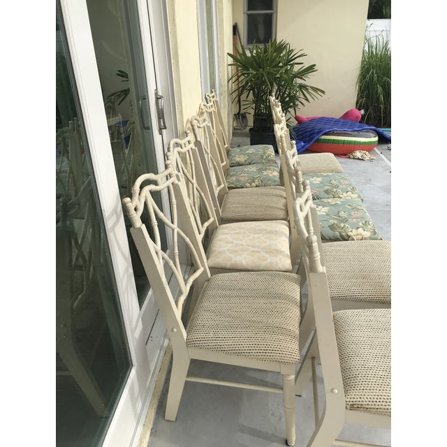 Faux Bamboo Vintage Thomasville Faux Bamboo Chinoiserie Hollywood Regency Chairs - Set of 10 For Sale - Image 7 of 11