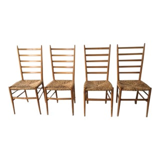 Ponti Style Ladder Back Chairs - Set of 4 For Sale
