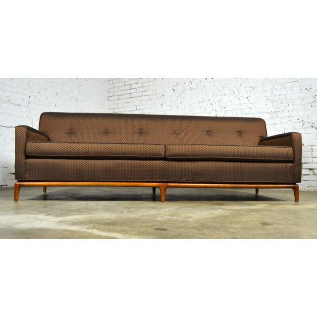 Mid-Century Tufted Tuxedo Sofa on Walnut Base - Image 2 of 10