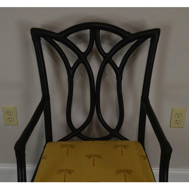 Textile McGuire Style Set 8 Black Rattan Bamboo Dining Chairs For Sale - Image 7 of 13
