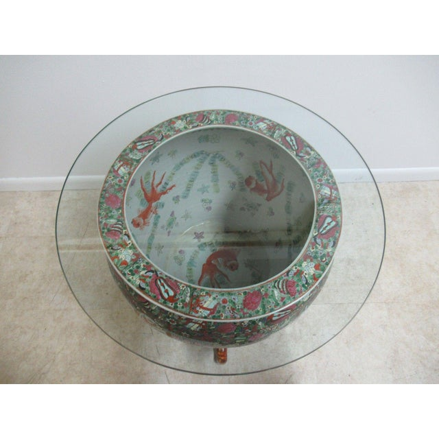Vintage Asian Pottery Fish Bowl Stand Lamp End Table Pedestal For Sale - Image 4 of 11
