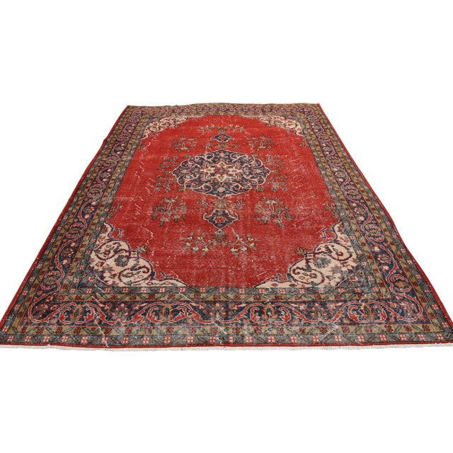 "Vintage Turkish Medallion Oushak Rug - 7'1"" X 9'10"" - Image 1 of 7"