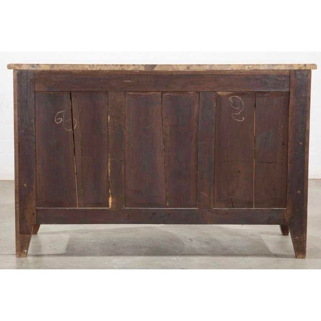 Louis XV Antique Louis XV/XVI Transitional Style Walnut Inlaid Commode W Breche d'Alep Marble For Sale - Image 3 of 4
