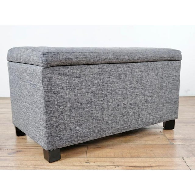 Contemporary Tainoki Gray Upholstered Button Tufted Ottoman For Sale - Image 4 of 10