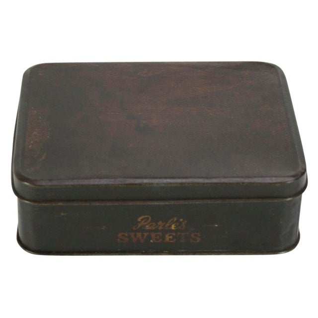 """Vintage """"Parle's Sweets"""" candy tin with faded printed graphics. Age wear."""