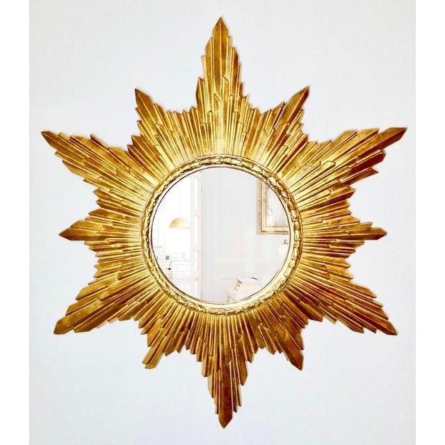 1960s Vintage Gold Resin Frame Sunburst Convex Mirror For Sale - Image 5 of 8