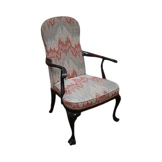 Hickory Chair Solid Mahogany Drake Foot Open Arm Library Chair For Sale