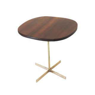 1950's Mid-Century Modern Allan Gould Side Table With Brass Base For Sale