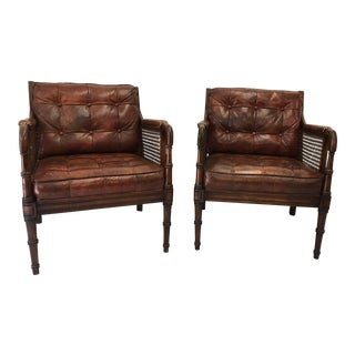 Faux Bamboo W/ Leather Lounge Chairs - a Pair