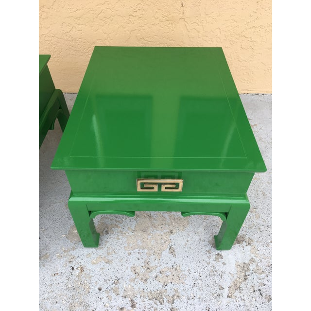 1960s 1960s Asian High Gloss Green Side Tables - a Pair For Sale - Image 5 of 8