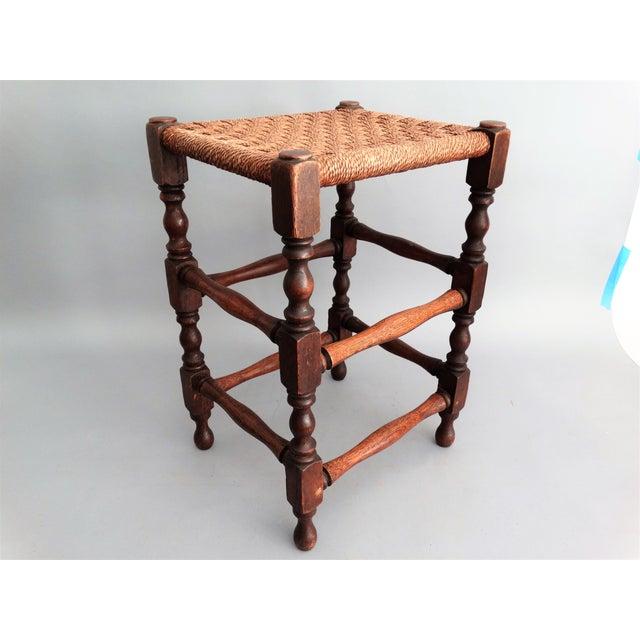 Antique English Oak & Rope Footstool - Image 2 of 7