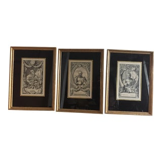 Set of 3 17th Century Antique Framed Copperplate Engravings by Ogilby For Sale