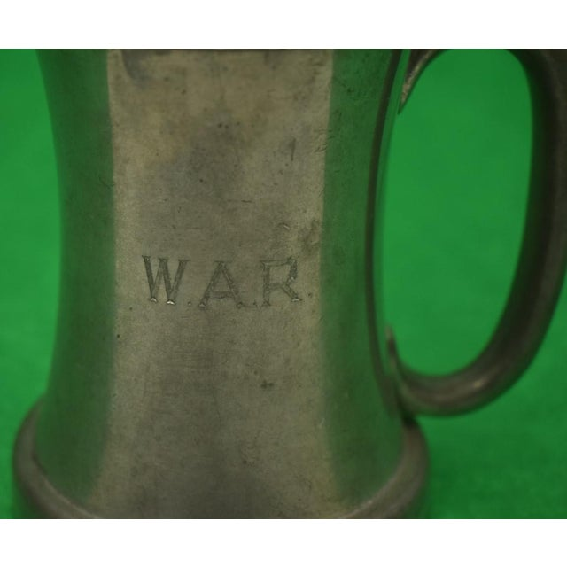 Rustic Set of 5 Abercrombie & Fitch Pewter English Tankards Engraved w.a.r. For Sale - Image 3 of 10
