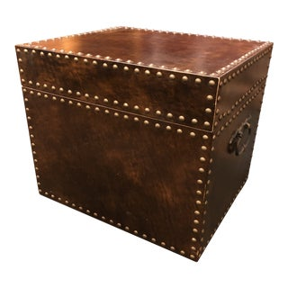 Nail Head Trimmed Leather Trunk Table For Sale