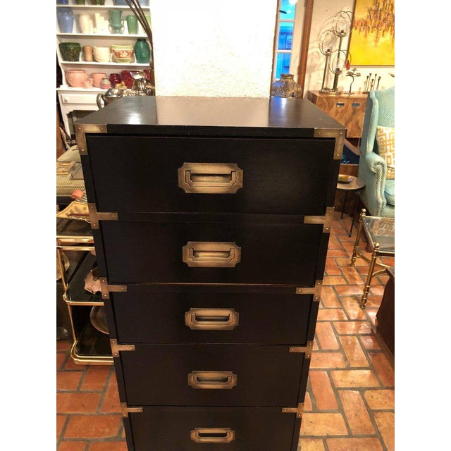 Campaign Black Campaign Brass Accent Highboy Chest For Sale - Image 3 of 11