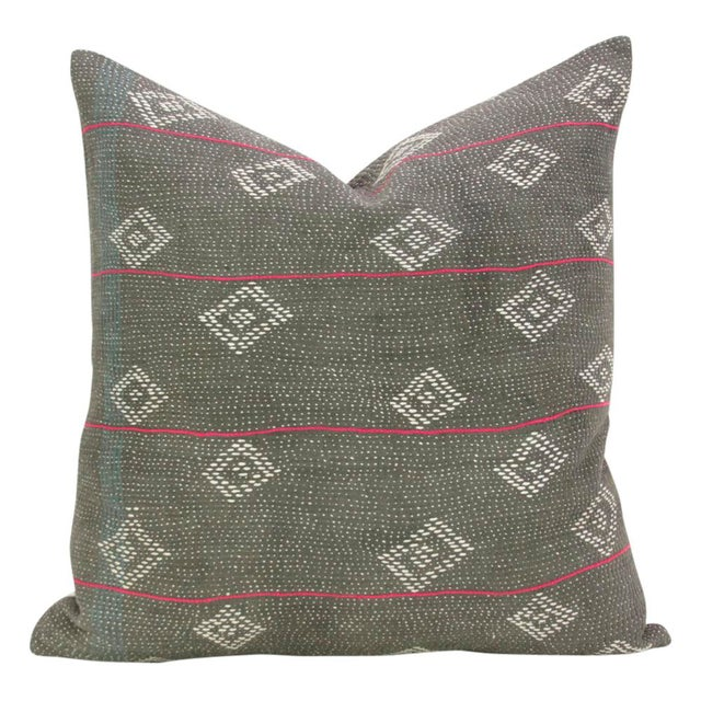 Dark Gray Bengal Kantha Pillows - A Pair For Sale - Image 4 of 5