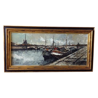 1966 French Nautical Oil Painting by Michel Girard For Sale