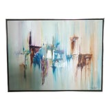 Image of Colorful Vintage Abstract Wall Painting For Sale