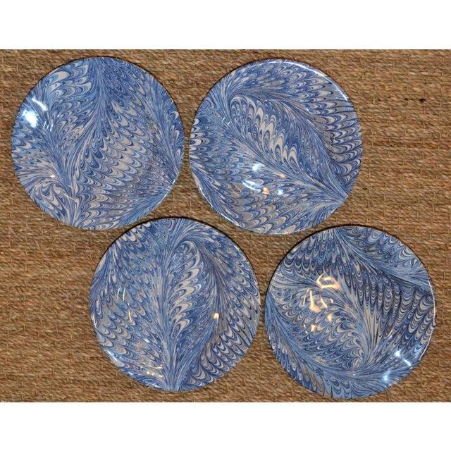 Ceramic Delft Blue Firenze Marbleized Ceramic Cocktail Plates - Set of 4 For Sale - Image 7 of 10