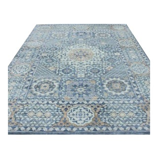 "Mamluk Style Hand-Knotted Transitional Geometric Blue and Light Brown Eclectic Rug - 10'1"" X 14' For Sale"