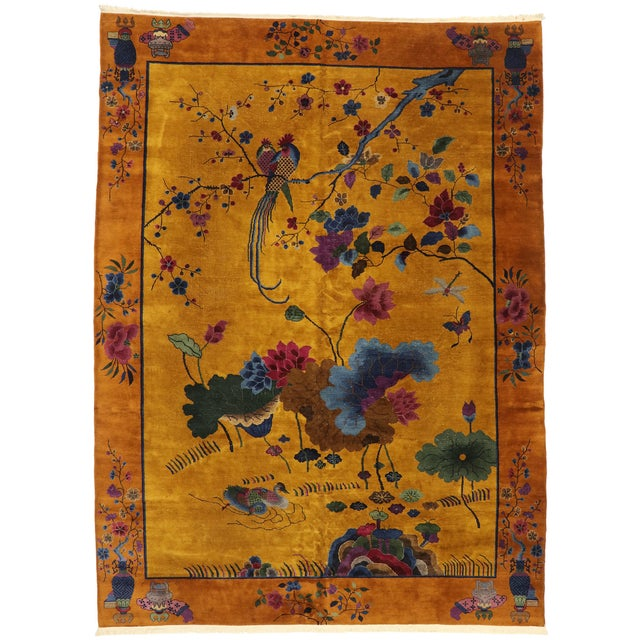 Antique Chinese Pictorial Rug With Art Deco Style - 10'00 X 13'04 For Sale - Image 9 of 9