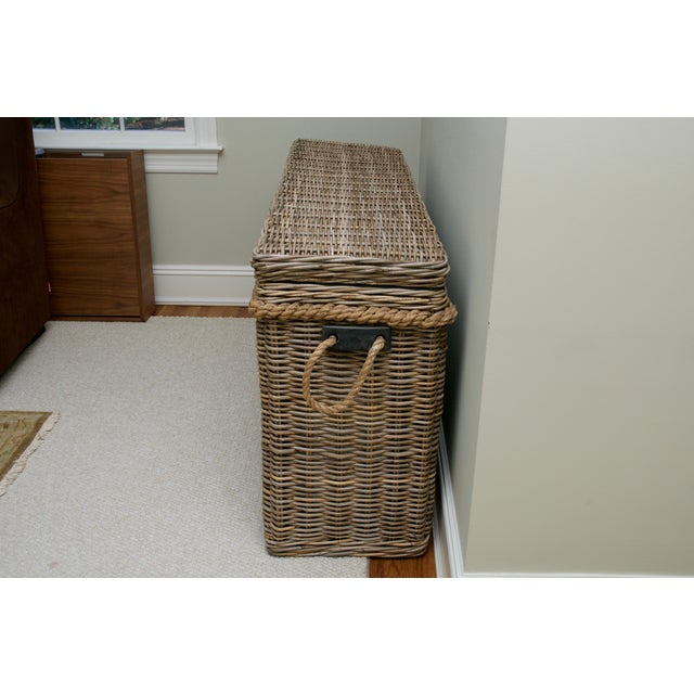 Driftwood Gray Rattan Wicker Blanket Storage Chest - Image 3 of 5