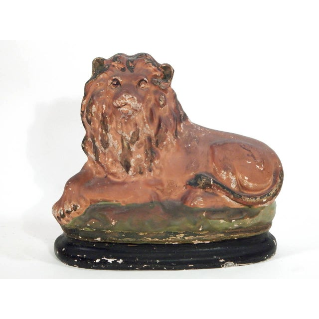 Beautiful pair of painted chalkware lions.